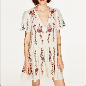 zara embroidered floral dress